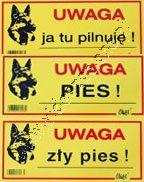 Tabliczka ostrzegawcza 10x21cm Dingo